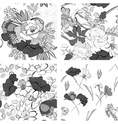 Set of seamless pattern with decorative flowers vector