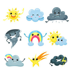 Set of weather forecast icons with funny faces vector
