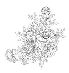 Spring flowers bouquet contour style flower vector