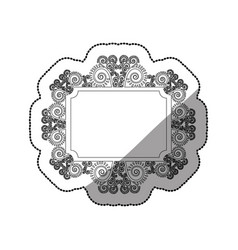 sticker monochrome rectangle vintage baroque frame vector image