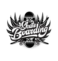stylish monochrome on skateboarding vector image