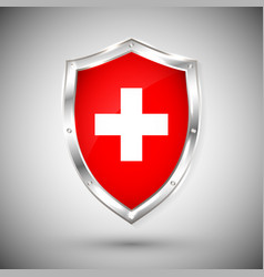 Switzerland flag on metal shiny shield vector