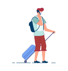 Tourist man traveler person in mask vector