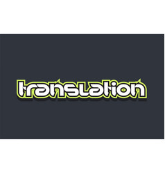 Translation word text logo design green blue white vector