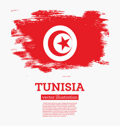 tunisia flag with brush strokes vector image