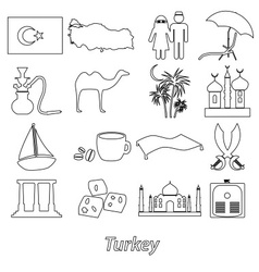 Turkey country theme symbols outline icons set vector