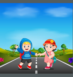two kids go to school on the road vector image