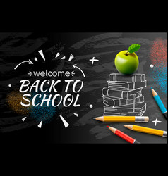 Welcome back to school web banner doodle on black vector