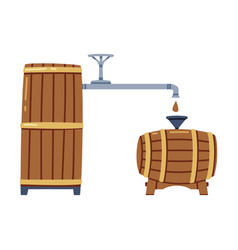 Whiskey drink process with pouring in wooden vector