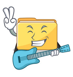 With guitar folder character cartoon style vector