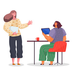 Women communicate at work workflow discussion vector