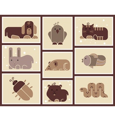 Zoo animals icons vector image