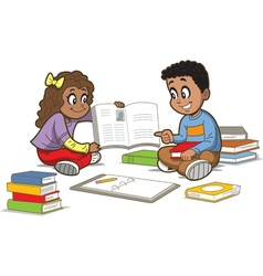 Children With Books vector image vector image