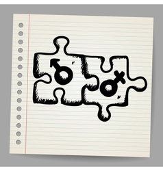 Doodle puzzles with gender symbols vector image