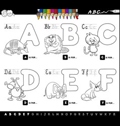 educational cartoon alphabet letters for coloring vector image vector image