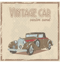 Retro 50s car stylish vintage postcard vector