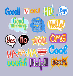 Sticker set chat message label icon collection vector