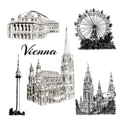 vienna - hand drawn bildings collection vector image vector image