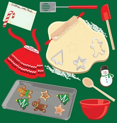 baking christmas cookies vector image vector image