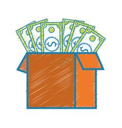 Box open with bills dollar vector