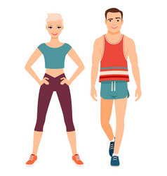 fitness sport style couple vector image vector image