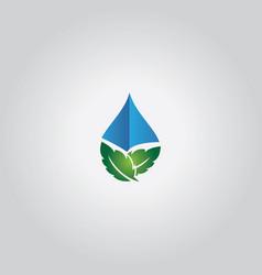 leaf droplet logo vector image vector image