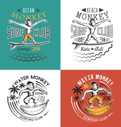 Monkey surfing club vector image vector image
