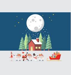 santa claus santa girl and snowman push a vector image vector image