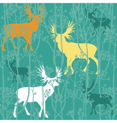 Seamless christmas pattern with deers in the vector image vector image