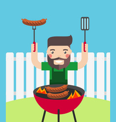 smiling man cooking barbecue outdoor vector image vector image