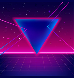 80s sci-fi background with perspective grid vector image