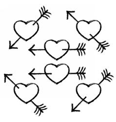 Black Textured Heart Pierced Arrow vector image vector image