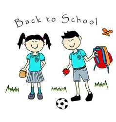Couple of asian kids goind back to school vector image
