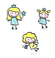 doodle princess collection vector image vector image