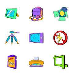 photo icons set cartoon style vector image