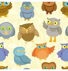 seamless pattern with cute bright owls vector image vector image