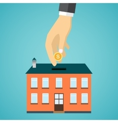 businessman hand putting coin inside the house vector image vector image