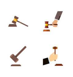 Flat icon hammer set of law court tribunal and vector