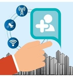 Hand connection social media network internet city vector