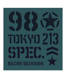 tokyo military plate design vector image