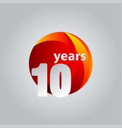 10 years anniversary red ball template design vector