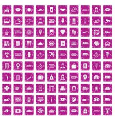 100 paying money icons set grunge pink vector image