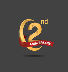 2 anniversary design logotype golden color vector