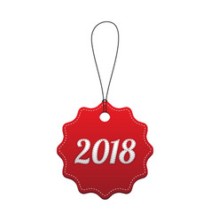 2018 new year holiday red stitched tag vector image