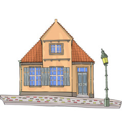 A yellow house with a tiled roof vector