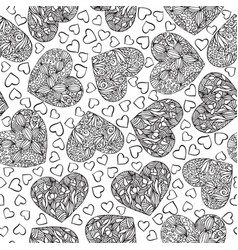 adult coloring book page with hearts vector image