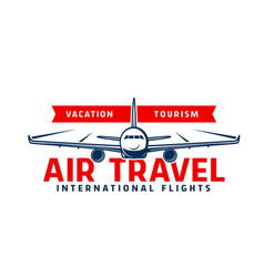 Air travel icon with plane flying in sky vector