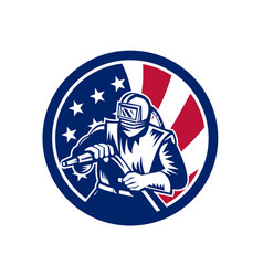 American sandblaster usa flag icon vector