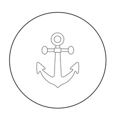 anchor icon in outline style isolated on white vector image