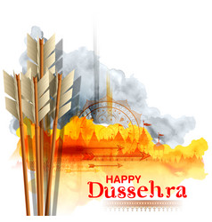 Arrow of rama in happy dussehra festival of india vector